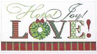Needlepoint Handpainted KELLY CLARK Christmas Love 10x6