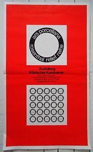 Original Ausstellungsplakat Poster ARS PORCELLANA  FONTANA  MAVIGNIER 1968  Köln