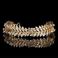 Crystal Rhinestones Handmade Golden Leaves Wedding Tiaras Bridal Crown Headband