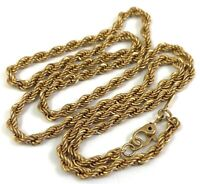 """VINTAGE ROPE CHAIN GOLD TONE METAL DESIGNER MONET 20"""" LONG COSTUME JEWELRY"""