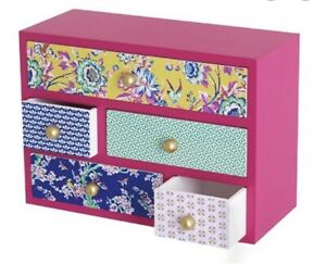 Butterfly Home Matthew Williamson Designer Wooden Mini Multi Drawer Storage Box