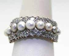 ANTIQUE VICTORIAN EDWARDIAN PEARL & DIAMOND 1/2 ETERNITY RING 18K Y/GOLD 6.5