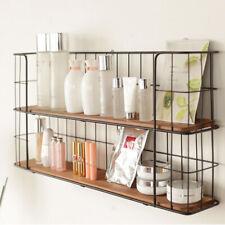 2 Tier Wall Mounted Metal Wire Wood Shelf Floating Shelves Kitchen Storage Rack