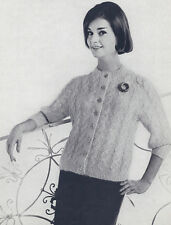 Vintage Knitting PATTERN to make 50s Mohair Cable Cardigan Sweater CableCardigan