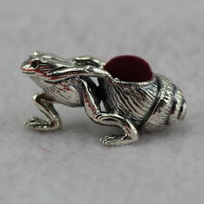 Novelty Miniature Sterling Silver Frog Pulling Shell Pin Cushion