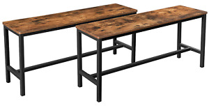 Industrial Dining Bench Set 2 Vintage Chair Rustic Metal Furniture Kitchen Seat