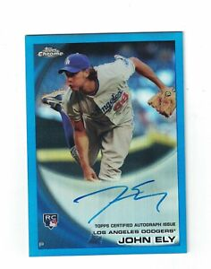 2010 Topps Chrome Blue Refractor John Ely Rookie Autograph Card #'d /199 Dodgers