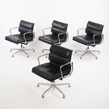 Eames Herman Miller Soft Pad Aluminum Group Chair Black Leather 2000s 4x Avail