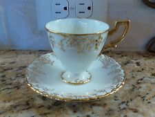 Royal Crown Derby Vine Gold Demitasse Cup and Saucer Set grapes Green Stamp