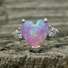 .925 Sterling Silver ring CZ Heart size 3-12 Kids Midi Opal Pink Ladies New