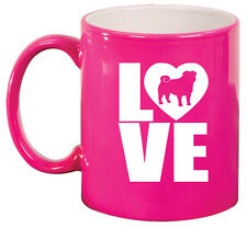 11oz Ceramic Coffee Tea Mug Glass Cup LOVE Pug