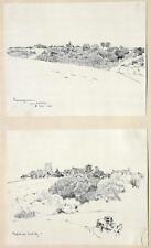 """Albert Reich 1881-1942 München / 2 Zeichnungen """"Cuvergnon"""" """"Antilly"""" Neumarkt"""