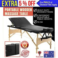 Portable Wooden 3 Fold Massage Table Chair Bed Black 70 cm Lightweight
