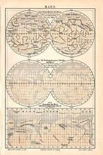 Antique map. MARS. MAP OF MARS. c 1895