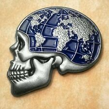 Silver Skull Globe Map Lapel Pin - Tattoo Inspired