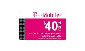 T-Mobile  Prepaid $40 Refill Top-Up Prepaid Card , AIR TIME  PIN / RECHARGE
