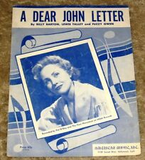 VINTAGE 1953 A DEAR JOHN LETTER PAT O'DAY & THE FOUR HORSEMEN SHEET MUSIC