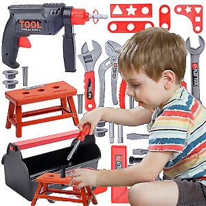 44pc Children Kids Drill Tool Box Set DIY Builders Building Construction Toy