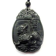Pi Xiu Word Amulet Pendant Talisman Black Green Jade Gem Happy Lucky Pixiu