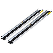 Set of 2 3'-5' Wheelchair Ramp Adjustable Aluminum Scooter Entry PVC Carpeted