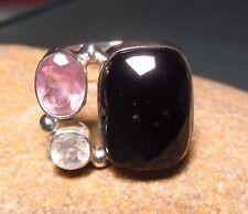 Sterling silver onyx/moonstone/topaz ring UK O-O¼/US 7-7.25. Gift bag.