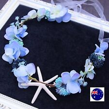 Women Blue Flower Girl Mermaid Sea Star Hair Headband crown Prop Garland Tiara