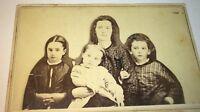 Rare Antique American Civil War Victorian Fashion Family! MA Relievo CDV Photo!
