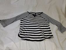 Vintage American Living Women's Striped Long Sleeve Shirt Black/White Size Large