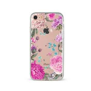 Apple iPhone Case Soft Clear Silicone Slim Fit Shockproof Cover Peonies Flower