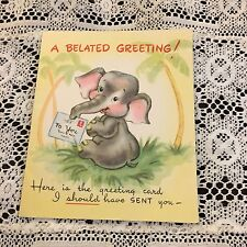 Vintage Greeting Card Birthday Elephant Trees Tropical