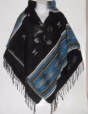 Claire's Ladies Shawl Collar Fringed Cape Wrap Poncho Black Multi O/S NWT