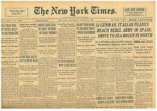 8-1936 August 12 German Italian Planes Reach Rebels. Franco. Spain. US Olympics