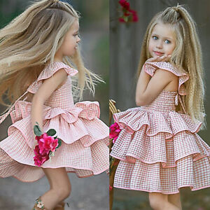 Summer Kids Baby Girls Plaid Tutu Dress Cake Birthday Party Ruffle Prom Dress