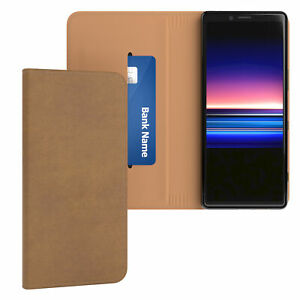 Case For Sony Xperia 1 cover Wallet Book Flip Cover Vintage Case Braun