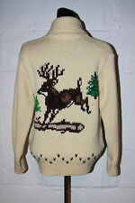 VTG Pinnacle Wool Deer Buck Cowichan Cardigan Zip Sweater Sz S