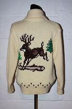 VTG Pinnacle Wool Deer Buck Cowichan Cardigan Zip Sweater Sz S