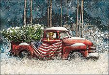 Leanin' Tree Christmas Card  - Old Truck With Dog & U.S. Flag Theme - ID#367