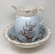 Victorian English Pitcher & Wash Bowl Set John Maddock & Sons Royal Vitreous