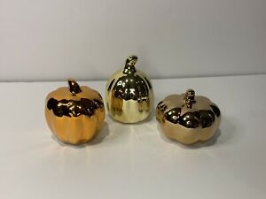 New Metallic Ceramic Pumpkin Set (3) Fall Decor Home Decorations Figurines