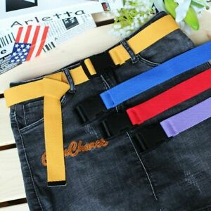Plain Webbing Cotton Canvas Plastic Buckle Belt Male Luxury Casual Strap Belt