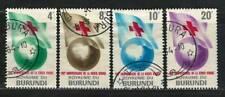 "BURUNDI 1963 Very Fine Used Stamps Set Scott # 53-56 ""Red Cross Flag over Globe"""