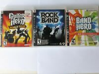 Lot Of 3 PS3 Video Games Band Hero, Guitar Hero World Tour  And Rock Band