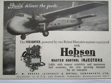 3/1946 PUB HOBSON BRISTOL FREIGHTER HERCULES ENGINES MASTER CONTROL INJECTOR AD