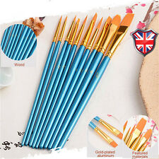 10 Pcs Paint Brush Set, Watercolor Oil, Acrylic, Body, Face, Craft Art Painting
