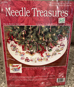 Needle Treasures Snow People Tree Skirt Counted Cross Stitch Kit 02998 OPEN