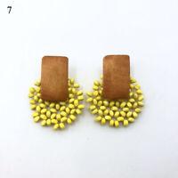 1 Pair Boho Vintage Wood Rattan Earrings Simple Wild Ear Stud Earrings For Women