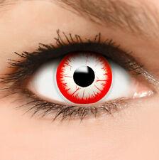 """Farbige Kontaktlinsen weiß rot """"Night Zombie"""" + Behälter Halloween Linsen Fun"""