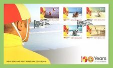 New Zealand 2010 Life Saving 100 Years of Volunteers set on First Day Cover