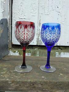 Edo Kiriko Japanese Wine Cut Glass From Japan Red Blue Pair Stemmed Glassware