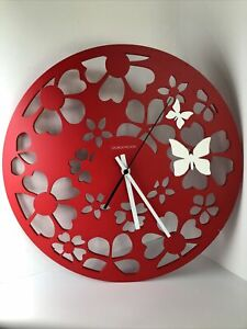 """George Nelson Butterfly Flowers Wall Clock Red NEEDS REPAIR Parts 14"""" MCM Rare"""